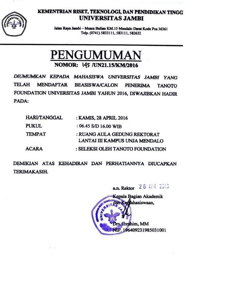 PENGUMUMAN DAFTAR CALON PENERIMA BEASISWA BANK INDONESIA UNIVERSITAS JAMBI 2016