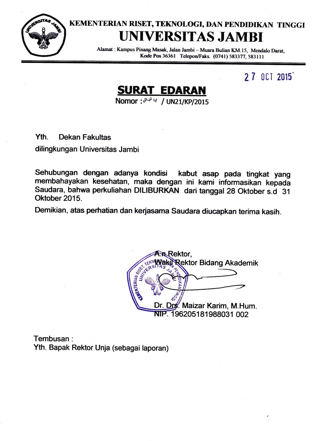 Surat Edaran Rektor Universitas Jambi No.224/UN21/KP/2015 Tgl. 27 Oktober 2015 Libur Perkuliahan